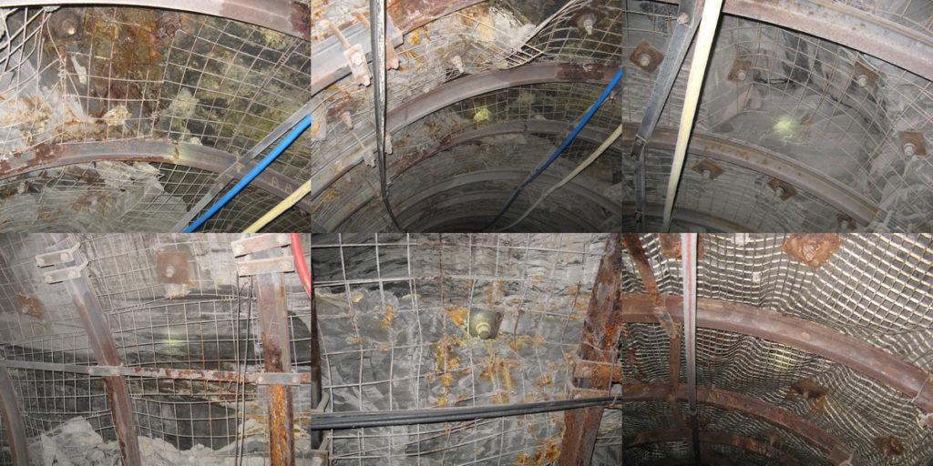 Применение сетки-затяжки металической и пластиковой в условиях действующей шахты Украины