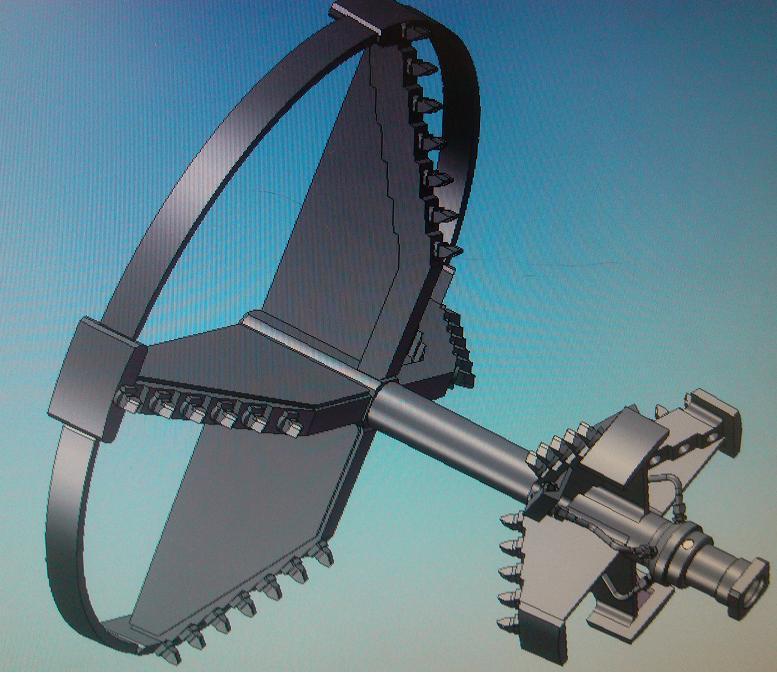 Расширитель установлен на буровой инструмент, после окончания бурения пилотной скважины диаметром 500 мм.