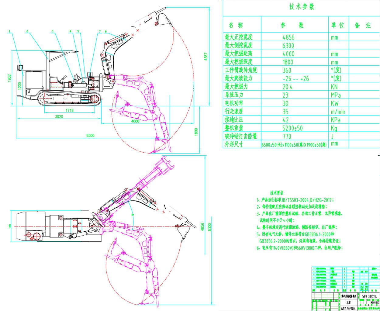 Экскаватор-погрузчик для угольных шахт типа ZWY-120/55L схема